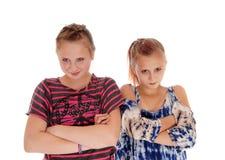 两个姐妹疯狂对彼此 库存照片