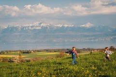 两个孩子,弟弟和大姐,一起使用户外在瑞士领域有在日内瓦湖的看法 免版税库存照片