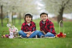 两个孩子,男孩兄弟,获得乐趣用复活节彩蛋在p 免版税图库摄影
