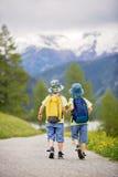 两个孩子,男孩兄弟,走在瑞士Al的一条小的道路 免版税库存照片