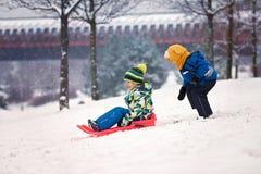 两个孩子,男孩兄弟,滑与在雪的突然移动,冬天 免版税库存照片