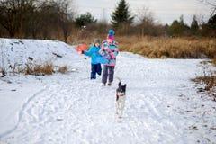 两个孩子,男孩和女孩,冬天步行的与狗 免版税库存照片