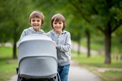两个孩子,男孩,推挤有小婴孩的婴儿推车 库存图片