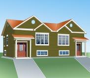 两个家庭的乡间别墅 项目简单和舒适的家 编译典型 建筑设计 免版税库存照片