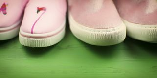 两个对在绿色背景的桃红色鞋子 库存图片