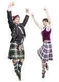 两个对苏格兰人舞蹈的舞蹈家 库存照片