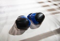两个对说谎在白色拳击台的拳击手套  的treadled 免版税库存图片