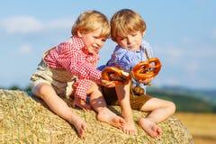 两个小兄弟姐妹男孩和朋友坐干草堆和ea 免版税图库摄影