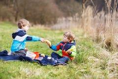 两个小兄弟姐妹男孩有野餐在森林湖,自然附近 免版税库存照片