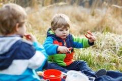 两个小兄弟姐妹男孩有野餐在森林湖,自然附近 免版税图库摄影