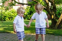 两个小兄弟姐妹男孩获得乐趣户外在家庭神色 免版税库存照片