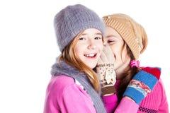两个小女孩聊天 库存图片