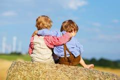 两个小孩和朋友坐干草堆 免版税库存图片