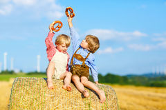 两个小孩男孩、孪生和兄弟姐妹坐在干草堆的温暖的夏日 库存照片