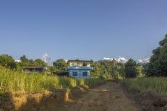 两个小屋在绿色米领域的乡下反对森林背景和积雪覆盖的山和清楚的蓝色 库存照片