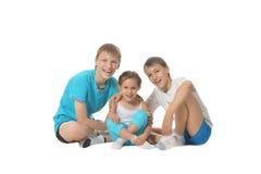 两个小男孩和女孩 免版税图库摄影