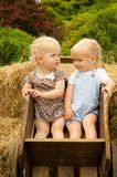 两个小逗人喜爱的白肤金发的女孩在一个木推车坐 免版税库存照片