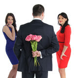 两个少妇和一位同性恋者 免版税图库摄影
