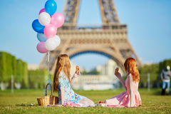 两个少妇有野餐在埃佛尔铁塔附近在巴黎,法国 免版税图库摄影