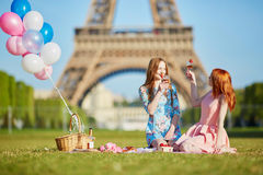 两个少妇有野餐在埃佛尔铁塔附近在巴黎,法国 免版税库存图片