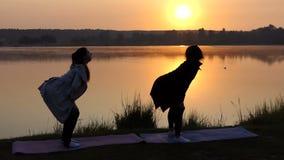 两个少妇瑜伽锻炼仅仅精采的日落的一个美丽如画的湖 股票视频