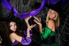 两个巫婆女朋友显示一只大蜘蛛 库存图片