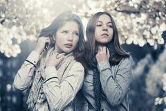 两个年轻时尚青少年的女孩在秋天公园 免版税库存图片