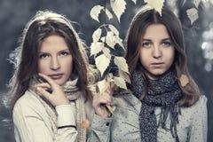 两个年轻时尚青少年的女孩在秋天公园 图库摄影