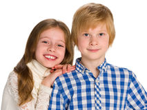 两个微笑的孩子 库存照片