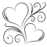 两个心脏漩涡元素 免版税库存照片