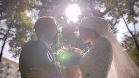 两个恋人站立在彼此对面在明亮的太阳 在他们之间一美丽的花束 美好的光 股票视频