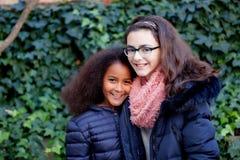 两个愉快的女孩在公园 库存图片