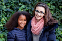 两个愉快的女孩在公园 免版税库存图片