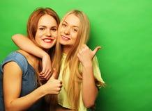 两个愉快的女孩-滑稽的面孔, emo正面朋友画象  库存照片
