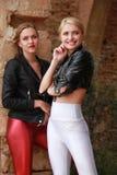 两个愉快的时髦的朋友 免版税库存照片