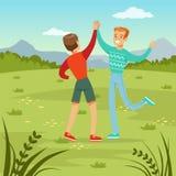 两个愉快的最佳的男性朋友见面在自然背景的,获得的青年人乐趣,友谊概念传染媒介 皇族释放例证