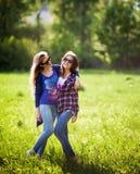 两个愉快的相当年轻姐妹,拥抱一起微笑和有疯狂的时间 库存图片