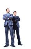 两个愉快的年轻商人充分的身体 免版税库存照片