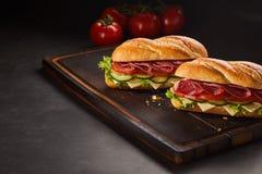 两个意大利辣味香肠三明治用乳酪和黄瓜 免版税库存图片