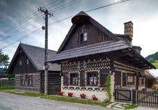 两个房子在Cicmany在斯洛伐克 免版税库存照片