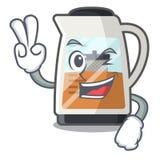 两个手指在动画片形状的茶制造商 库存例证