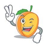 两个手指杏子字符动画片样式 库存图片