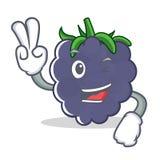 两个手指黑莓字符动画片样式 免版税库存照片