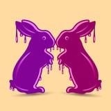 两个抽象紫色野兔,湿或熔化,装饰的对象, 库存例证