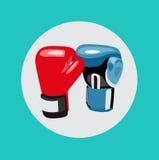 两个拳击手套传染媒介平的设计 免版税图库摄影