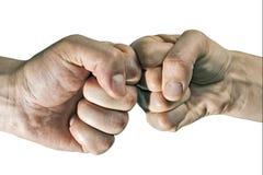 两个拳头碰撞  免版税图库摄影