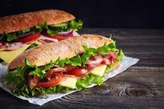 两个新鲜的大三明治 免版税库存照片