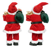 从两个方面的小的滑稽的圣诞老人玩偶支持看法 库存图片