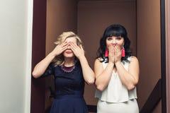 两个时髦的女孩站立关闭他们的眼睛和嘴用他们的手 免版税库存图片