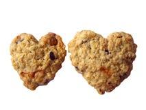 两个曲奇饼一起心脏形状 免版税库存图片